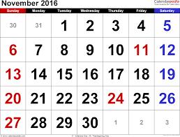 2016 thanksgiving date november 2016 calendars for word excel u0026 pdf