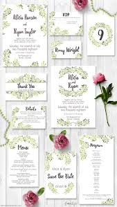 watercolor olive printable wedding invitation suite includes