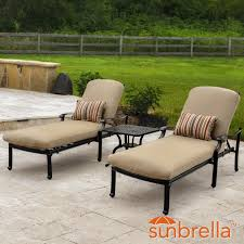 Cushions For Outdoor Chaise Lounges Bocage 3 Piece Cast Aluminum Patio Chaise Lounge Set W Sunbrella
