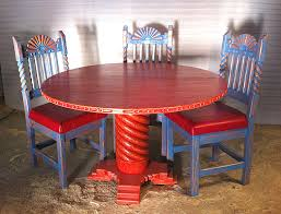 Southwest Dining Room Furniture Great Southwest 48in Dining Set Sandblasted Red Table Blue Chairs