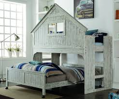 twin size club house low loft bed in brushed driftwood finish 007d