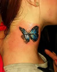 3d colourful butterfly on neck tattoos