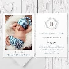 blue monogram baby boy birth announcement card sided