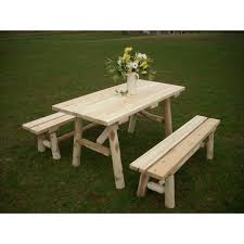 Cedar Patio Table White Cedar Log Picnic Tables