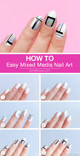 simple but cool mixed media nail art tutorial