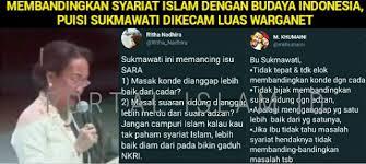 Puisi Sukmawati Geger Puisi Sukmawati Sudutkan Syariat Islam Warganet Meradang