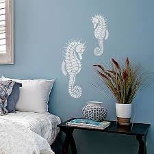 painting stencils for wall art decoration ideas cool white sea horse wall art stencil on blue