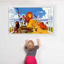 kids bedroom wall decor 3d lion king stickers removable baby wall