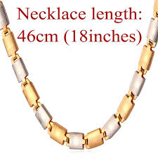 necklace trendy images U7 two tone gold men necklace trendy quot 18k quot stamp platinum 18k jpg