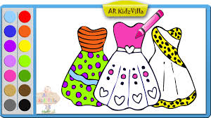 learn colors for kids and color barbie dress coloring page pt 49