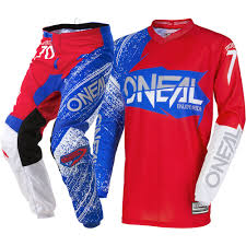 motocross gear set new oneal 2018 mx element burnout red white blue jersey pants