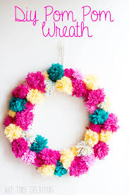 Homemade Pom Pom Decorations Spring Pom Pom Wreath Easy Diy Life Sew Savory