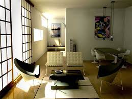 Japanese Living Room White Tufted Chairs And Black Coffee Table For Modern Japanese