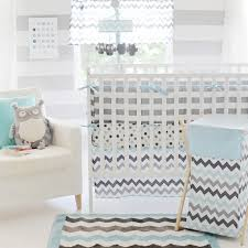 Gray Baby Crib Bedding Chevron Baby Crib Bedding Set In Aqua By My Baby Sam