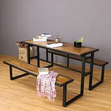 wood and wrought iron table retro wood furniture creative wrought iron tables and chairs