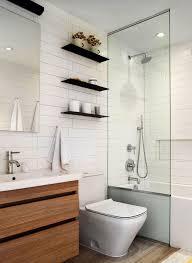 Contemporary Bathroom Shelves Houses Sleek Floating Shelves In The All White