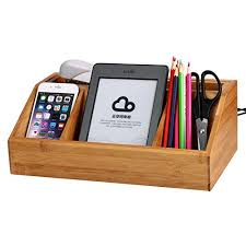 Desk With Charging Station Bamboo Charging Station Desk Organizer Storage Compartment