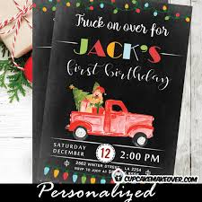 vintage red truck christmas first birthday invitations