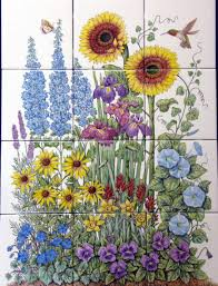 Hand Painted Tiles For Kitchen Backsplash Flowers Floral Fauna Garden Scenes Ceramic Murals By Julia