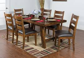 dining room rustic wood dining table with brown wooden floor and