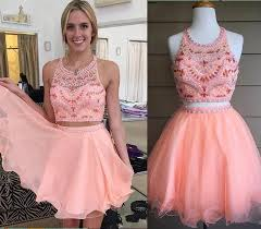blush pink homecoming dress 2 piece homecoming dresses silver