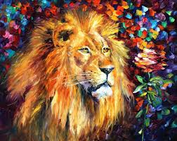 lion of zion u2014 palette knife oil painting on canvas by leonid