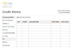 credit memo template sidebar design dotxes