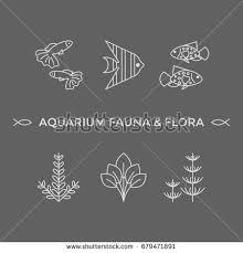 thin line vector icons aquarium flora stock vector 679471891