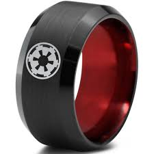 wars wedding ring wars imperial crest black beveled tungsten ring zealot