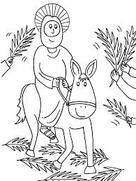 cartoon of jesus rode a donkey in palm sunday coloring page