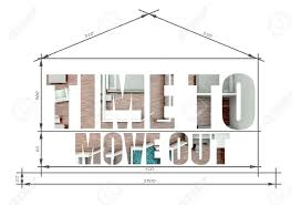 home blueprint time to move out slogan in modern house blueprint stock photo