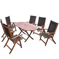 Folding Patio Furniture Set by Wood Seven Piece Folding Outdoor Dining Set Acacia Wood Lovdock Com