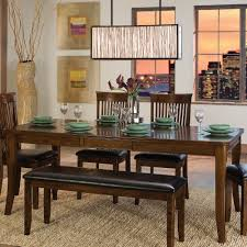 Shaker Dining Room Chairs by Shaker Espresso 6piece Dining Table Set With Bench Awesome Shaker
