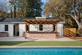 Designers Patio San Francisco Stacked Wall Patio Farmhouse With Wood Fence