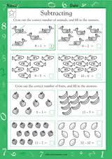 subtracting animals u0026 fruit math practice worksheet grade 1