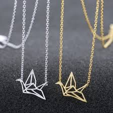 silver plated necklace images Gold silver plated origami crane chain pendant necklace women jpg