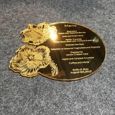 Beautiful Menu Beautiful Flower Design Round Shape Engraved Golden Mirror Acrylic