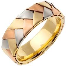 braided wedding bands 14k tri color gold braided basket weave women s