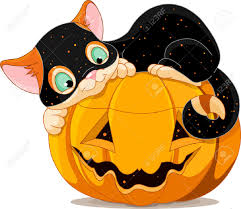 a cute kitten with halloween costume lying happily on a pumpkin
