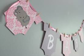 baby girl themes for baby shower elephant baby shower banner it s a girl pink and gray