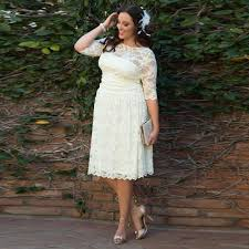 plus size wedding dresses with sleeves tea length aliexpress com buy sale tea length plus size wedding dresses