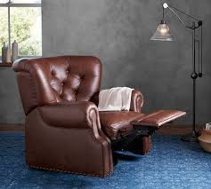 lansing leather swivel recliner pottery barn