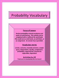 Experimental Probability Worksheet Probability Terms Worksheet With Word Bank By Activities By