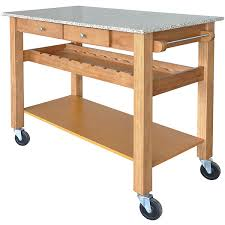 kitchen island cart with granite top sonoma maple kitchen island cart w pebble granite top