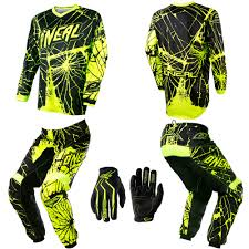 motocross jersey and pants combo o u0027neal element enigma neon motocross dirtbike gear jersey pants