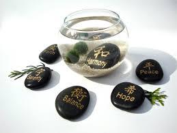 marimo moss ball aqua zen garden with chinese character stone