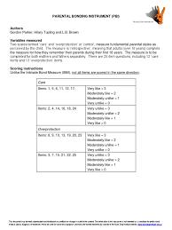 parental bonding instrument validity statistics parenting