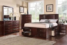 soothing bedroom interior brown wooden bed two drawers storage