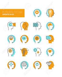probleme icone bureau icônes de ligne avec des éléments de design plat de la santé mentale