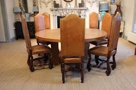 Spanish Dining Room Furniture Exquisite Set Of Eight Spanish Walnut U0026 Leather Os De Mouton